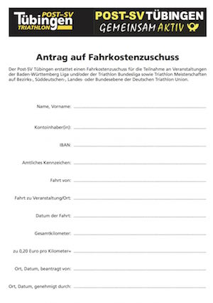 Fahrkostenformular Triathlon cover